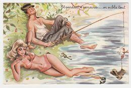 Humour Pêcheur Pendant 4 Semaines On Oublie Tout ...Pêcheur Belle Baigneuse Poisson Grenouille Illustrateur ? En 1966 - Humour