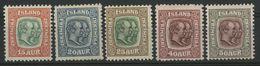 "ISLANDE ICELAND COTE 27.5 € N° 53 + 55 à 58 Neufs * (MH) ""Frederic VIII Et Christian IX"" - Nuevos"
