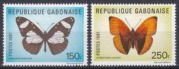 Gabun Gabon 1981 Tiere Fauna Animals Schmetterlinge Butterflies Papillion Mariposa Farfalle Insekten, Aus Mi. 800-3 ** - Gabon