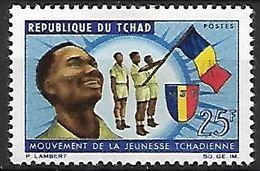 T C H A D   -    1966.      Y&T N° 130 * .    Mouvement De La Jeunesse Tchadienne  /  Drapeau - Chad (1960-...)