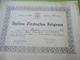 Diplôme D'Instruction Religieuse/Attestation/Diocèse De NEVERS/Paroisse De Clamecy/Ecole St Charles/Vers 1940-45  DIP219 - Diploma & School Reports