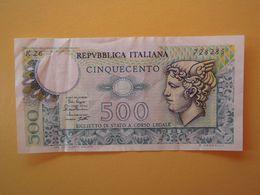 500 LIRE  TESTA DI MERCURIO  - Banconota Buone Condizioni - [ 2] 1946-… : Républic