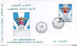 """Maroc;FDC 1er Jour  1993;TP N°1147 """"40ème Anniversaire De La Révolution Du Roi Et Du Peuple""""Casablanca;Morocco,Marruecos - Maroc (1956-...)"""