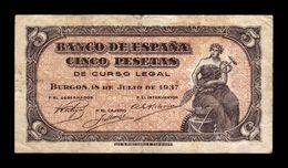 España Spain 5 Pesetas Portabella 1937 Pick 106 BC/MBC F/VF - [ 3] 1936-1975 : Régimen De Franco