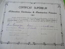Diplôme Religieux/Certificat Supérieur D'Education Chrétienne /Diocèse NEVERS/ Clamecy/St Charles/1943  DIP221 - Diploma & School Reports