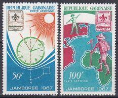 Gabun Gabon 1967 Organisationen Pfadfinder Scouts Jugend Youth Baden-Powell Orientierung Uhr Clock Sonne, Mi. 283-4 ** - Gabon (1960-...)