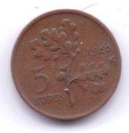 TURKEY 1960: 5 Kurus, KM 890 - Turquie