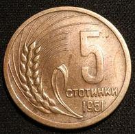 BULGARIE - BULGARIA - 5 STOTINKI 1951 - KM 52 - Bulgarien