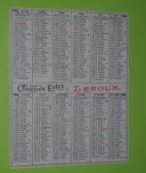 CALENDRIER 1986 - Publicité CHICORÉE LEROUX - Environ 10x6.5 Fermé - Bon état D'usage - Calendari