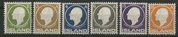 ISLANDE ICELAND COTE 55 € N° 62 à 67 Neufs * (MH) Série Complète De 6 Valeurs, Impression En Relief, Jon Sigurdsson - Nuevos