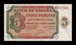 España Spain 5 Pesetas Burgos 1938 Pick 110 Serie J SC UNC - [ 3] 1936-1975 : Regime Di Franco