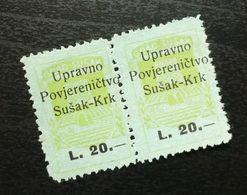 Fiume Croatia Italy Revenue Stamps L 20 B25 - Occ. Yougoslave: Fiume