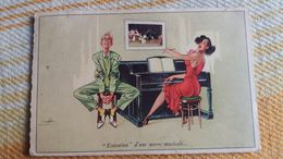 CPSM EXECUTION D UNE OEUVRE MUSICALE AU PIANO FEMME SEXY HOMME MUSICIEN EXASPERE SIGNEE ED M D - Humour