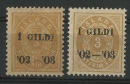 ISLANDE ICELAND COTE 180 € N° 23 Neuf * (MH) Type I Dentelé 12 1/2. 3a Bistre Jaune. Il Est Joint Le 23A (Type II) - Nuevos