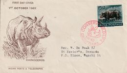 Inde  1962 Calcutta Rhinoceros - India