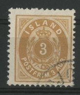 ISLANDE ICELAND COTE 22 € N° 20 Oblitéré. Dentelé 12 1/2. 3a Bistre Jaune - Gebraucht