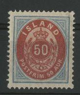 ISLANDE ICELAND COTE 80 € N° 16A Neuf * (MH) Dentelé 14 X 13 1/2. 50a Bleu Et Rouge - Nuevos