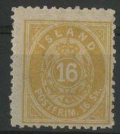 ISLANDE ICELAND COTE 120 € N° 5B Neuf * (MH) Dentelé 12 1/2. 16 Sk Jaune - Nuevos