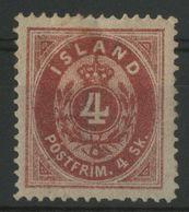 ISLANDE ICELAND COTE 180 € N° 3A Neuf * (MH) Dentelé 14 X 13 1/2. 4 Sk Rouge Carminé - Nuevos