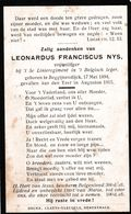 Oorlogslachtoffer 14 - 18   NYS Leonardus  ° Begijnendijck 17.05.1894   + Yzer  Aug 1915 ( Diksmuide  ??) - Religion & Esotérisme