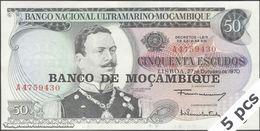 TWN - MOZAMBIQUE 116a - 50 Escudos 27.10.1970 (1976) DEALERS LOT X 5 - Prefix A AU - Mozambique