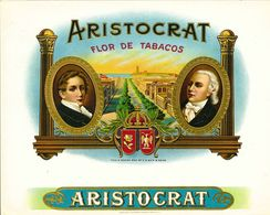 VINTAGE - ETICHETTE PER SCATOLE SIGARI - ARISTOCRAT -  QUALITA' 10/10 FTO 21X17 ORIGINALE, RILIEVO - Labels