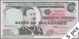 TWN - MOZAMBIQUE 116a - 50 Escudos 27.10.1970 (1976) DEALERS LOT X 5 - Prefix A UNC - Mozambique
