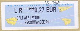 VIGNETTE LISA       CPLT  AFF    Lettre Recommandée R1       0.27 Euro    (sur Fragment) - 2000 «Avions En Papier»