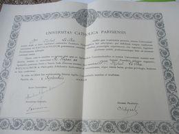 Diplôme Religieux/Universitas Catholica Parisiensis/Baccalaureum In Philosophia Scholastica/Le DUC/PARIS/1949  DIP254 - Diploma & School Reports