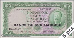 TWN - MOZAMBIQUE 117a - 100 Escudos 27.3.1961 (1976) DEALERS LOT X 5 - Prefix C UNC - Mozambique