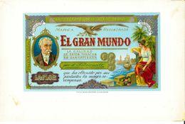VINTAGE - ETICHETTE PER SCATOLE SIGARI -  EL GRAN MUNDO -  QUALITA' 10/10 FTO 25,5X16,5 ORIGINALE, RILIEVO - Labels