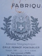 FACTURE - 25 - DEPARTEMENT DU DOUBS - PONTARLIER 1939 - FABRIQUE D'ANIS SUPERIEUR : EMILE PERNOT - Non Classés