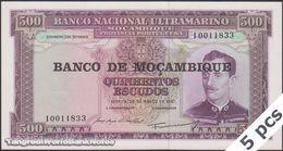 TWN - MOZAMBIQUE 118a - 500 Escudos 22.3.1967 (1976) DEALERS LOT X 5 UNC - Mozambique