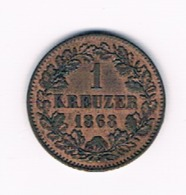 BADEN 1 KREUZER 1868 - [ 1] …-1871 : Estados Alemanes