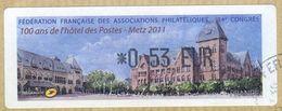 VIGNETTE LISA     84è Congrès Fédération Française Des Associations Philatéliques   METZ 2011   0.53 Euro (sur Fragment) - 2000 «Avions En Papier»
