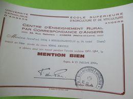 Diplôme Religieux/Université Catholique D'ANGERS/Agriculture Et Viticulture/JP DUVAL/ 3éme Année/1963-64  DIP227 - Diploma & School Reports