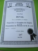 Attestation De Fin De Stage De Formation/Crédit Agricole De L'Eure/ EVREUX/ /JP DUVAL/ 1995  DIP235 - Diploma & School Reports