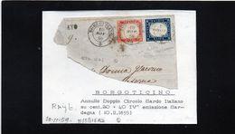 CG35 - Frammento Con Annullo Borgoticino 10/11/1859 - Doppio Cerchio Sardo/ital Su Cent. 40+20 F.to Raybaudi - Sardinië