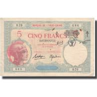 Billet, Côte Française Des Somalis, 5 Francs, Undated (1943), KM:11, TTB+ - Indochina