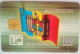 100 Units Moldova Flag, Small Building Reverse - Moldavie