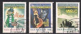 San Marino Saint-Marin 1988 Yvertn° 1186-1188 (°) Used Cote 4  € Fellini - Saint-Marin