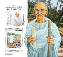 Sierra Leone. 2020 90th Anniversary Of The Salt March. Mahatma Gandhi. (0220b) OFFICIAL ISSUE - Mahatma Gandhi