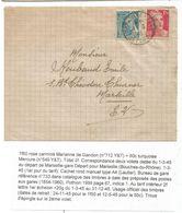 GANDON 1FR50+ 50C MERCURE SUR FEUILLE DOUBLE DE CAHIER ECOLIER MARSEILLE GARE 1.3.1945 1ER JOUR TARIF A 2FR - 1945-54 Marianne Of Gandon