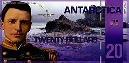 ANTARCTICA 20 Dollars 30 Août 2008 Polymer UNC Capitaine Franck Worsley - Specimen