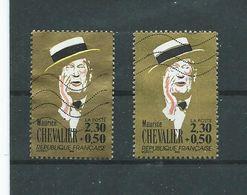 606 TP -  FRANCE 1990 - VARIETES - TP MAURICE CHEVALIER - LISERÉ Sur Le Chapeau (Voir Explication Sur SCAN) - Curiosités: 1990-99 Oblitérés