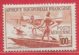 Afrique équatoriale Française PA N°42 Hydravion Pirogue 100F Brun-rouge 1944 ** - Nuevos