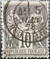 France N°89 Sage 10c. Noir Sur Lilas. Cachet Du 6 Juin 1878 à Paris (Rue D'Aligre) - 1876-1898 Sage (Type II)