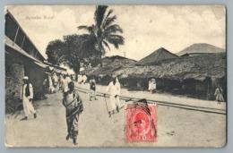 ZANZIBAR 1910 MGAMBO ROAD TANZANIE TIMBRE SULTAN ROI KING STAMP LORD BROTHERS EDITION CPA POSTCARD TANZANIA NATIVES - Tanzania
