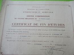 Certificat Defin D'Etudes/ Ministére De L'Agriculture/Centre D'Instruction/Le Nebourg/Eure /JP DUVAL/ 1962 DIP222 - Diploma & School Reports