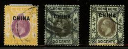 CHINA - BRITISCH POSTOFFICE HONG KONG - Stanley Gibbons 11, 12a, 12c All Used. - China